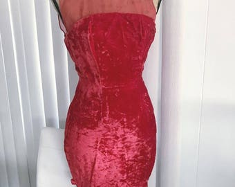 Vintage 50's 60's Ruby Red Crushed Velvet Wiggle Dress -- Size XS -- Rockabilly