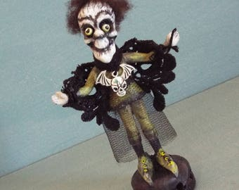 Halloween Art Doll Ms Batty Ghost Folk Art Doll OOAK Handmade Original