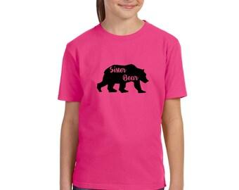 Sister Bear Shirt, Bear Family Shirt Sets, Hand Printed Graphic Tee Shirt, New Baby Gift, Unisex Kids Clothes, Matching Bear Top Wild Animal