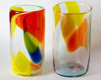 Hand blown multi colored glasses
