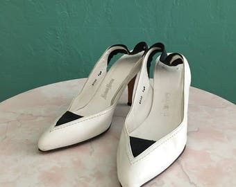 80's white neiman marcus sling back heel ~ size 6.5