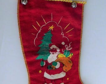 1940's Flannel Stocking - Vintage Santa Christmas Stocking