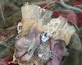 Faded petals cuff, bold wrist wrap with antique laces, bohemian cuff, beading and crystals