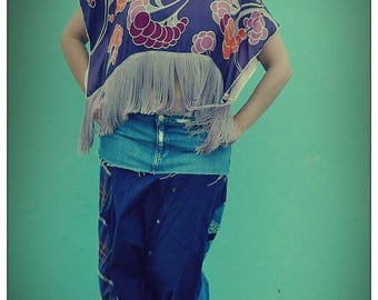 Upcycled Silk Scarf Festival Purple Fringed Crop Top                              ReMade in Brighton UK