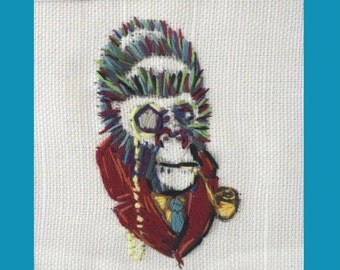 SALE- Embroidered Victorian Gorilla Smoking With Monocle and Collar SteamPunk - Framed (Plexi) Black Matt and Hand Stitched