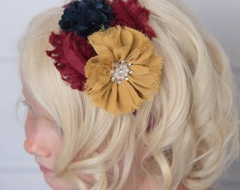 mustard elastic headband, gold flower headband, navy headband, girl baby shower gift, photo prop, burgundy flower headband, baby headband