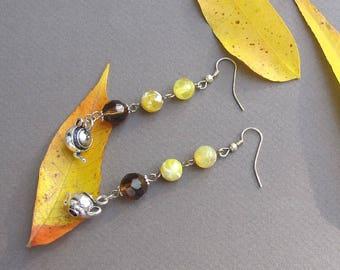 Lemon Tea Dangle Earrings Long Fire Agate Glass Bead Teapot Kettle Charm Boho Chic