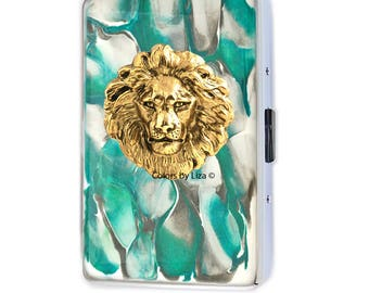 Lion Head Metal Cigarette Case Inlaid in Hand Painted Enamel Teal and Taupe Quartz Inspired Metal Wallet with Color and Personalized Options