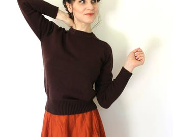 Brown Sweater / 1970s Sweater / 70s Sweater / 1970s Brown Knit Sweater