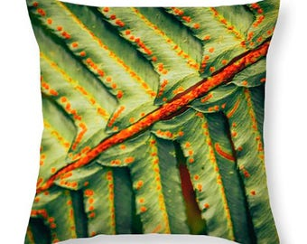FERN THROW PILLOW - 16x16, 18x18, 20x20, 26x26, 20x14 Indoor or Outdoor scatter cushion, home decor, dorm decor, nature home accents