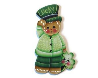 Ginger Holding Shamrock Fridge Magnet or Ornament, Handpainted Wood, Hand Painted St Patrick's Day Gingerbread Refrigerator Magnet, Tole