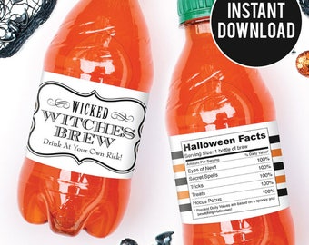 """INSTANT DOWNLOAD Halloween Drink Labels - """"Witches Brew"""" - DIY Printable Water or Soda Labels"""
