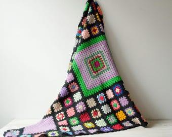 Vintage Crochet Blanket, Handmade Wool Afghan Blanket, Granny Blanket, Flower Blanket, Black Blanket