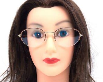 vintage 90s half-rim eyeglasses oval gold metal frames tortoise 52-19-135 optical 1990s eyewear traditional eye glasses brown plastic 242