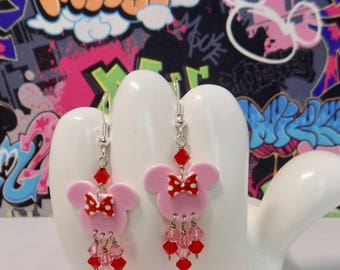 Minnie Mouse Valentine Pink With Red Polka Dot Bow Dangle Earrings