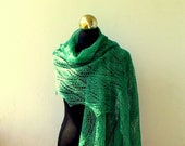 Malachite Green linen hand knitted lace shawl,  summer lace stole with nupps