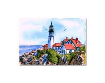 LIGHTHOUSE 2 Portland Head Light Maine watercolor seascape painting Sandrine Curtiss ORIGINAL art ACEO