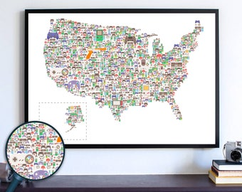 Nintendo Switch Video Gamer Decor, Controllers USA Map, Video Game Art Room Poster, NES Xbox PS4 Controller, Handheld Console Custom Art