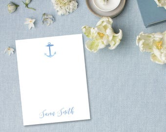 Anchor Silhouette Watercolor Personalized Stationery | Nautical Theme | Ships Wheel | Sailboat | Flat Stationery Set | Thank You Notes