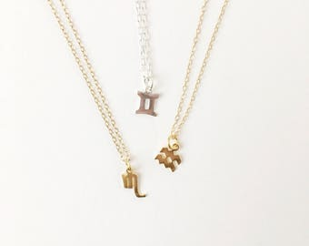 Zodiac Horoscope Necklace, Astrology, Constellation, dainty, birthday gift, sign, gold, silver, celestial, sky, aquarius, pisces, aries
