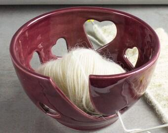 Burgundy Heart Ceramic Wheel Thrown Yarn Bowl, Red wine rustic Knitting Crochet handmade  Love bowls ceramics BlueRoomPottery