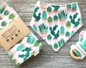 Potted Cacti Baby Bib - Bandana Bib - Burp Cloth - Teething Ring - Gift Set - Southwest Style Baby Gift - Succulents Saguaro