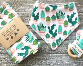 Potted Cacti Baby Bib - Bandana Bib - Burp Cloth - Teething Ring - Gift Set - Southwest Style Baby Gift - Succulents Saguaro