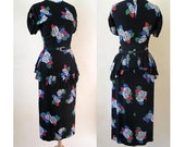 "ON HOLD Gorgeous 1940's Rayon Floral Print Dress with Dramatic Peplum & matching belt by ""Flair Originals"" Size Medium"