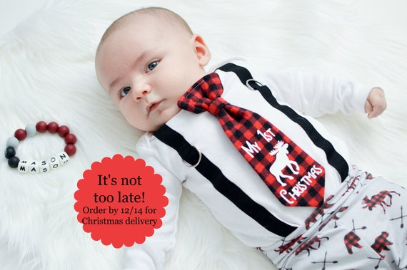 Baby Boy 1st Christmas Outfit In Buffalo Plaid Christmas Picture
