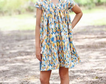 Sedona Top and Dress PDF Sewing Pattern, including sizes 12 months-12 years, Dolman style, Girls Dress Pattern, Dolman Dress Pattern