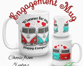 Engagement Coffee Mug - VW Camper Van Cup - Future Mrs Engagement Gift - Fiancé Proposal Gift for Car Lover - Volkswagen Bride or Groom Gift
