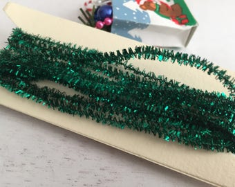 Miniature Green Tinsel Garland, 2 Yards, Dollhouse Miniature, 1:12 Scale, Mini Garland, Dollhouse Accessory, Holiday Decor, Crafts