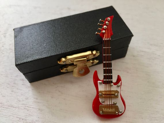 Miniature Electric Guitar with Case, Red and White, Miniature, 2.5 Inches, Dollhouse Accessory, Miniature Music, Topper, Display