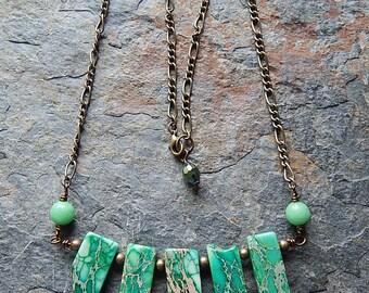 Green Imperial Jasper statement necklace - green stone graduated fan necklace - rustic bar necklace - brass - bohemian jewelry - boho style