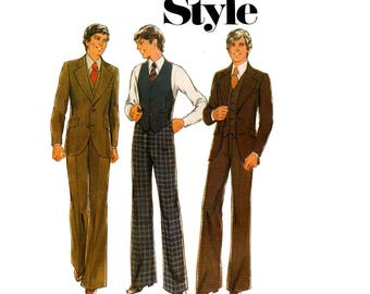 Style 1754 Mens 3 Piece Suit Jacket Vest Pants 70s Vintage Sewing Pattern size Chest 38 inches UNCUT Factory Folded