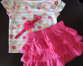 Baby Girl Headband /Flower Shirt /Tutu Skirt Princess Sets