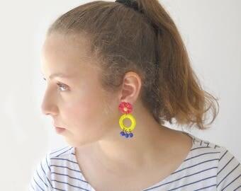 Hippie Earrings, summer statement Earrings, Daisy flower long hoop earrings, yellow blue red unique jewelry for her