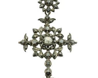 Fine antique decorated pendant cross 18k gold silver rose cut diamonds Victorian jewellery