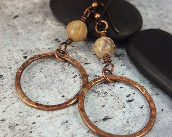 Rustic Copper, Soapstone Dangle Earrings. Hammered Copper Earrings, Wire Wrap Earrings. Boho Copper Dangle Womens Gift. Mom Gift Mothers Day