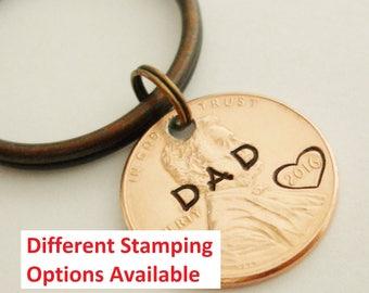 DAD Keychain: New Daddy, Lucky Penny, 1st First Fathers Day, Papa, Dada, Grandpa, Papaw, Pawpaw, Poppy, Popi, Papi, Father of Bride Groom