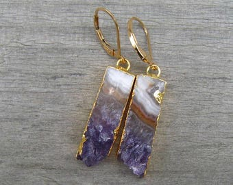 Amethyst Slice Earrings, Natural Stalactite Rectangle Earrings, February Birthstone, Amethyst Jewelry, Gift For Her, Raw Amethyst Earrings