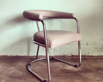 SALE-MID CENTURY Modern Tubular Chrome Chair with Light Gray Leather (Los Angeles)