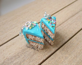 Turquoise Cake Charm - Cake Charm - Stitch Marker - Progress Keeper - Planner Charm - Handmade in UK with Polymer Clay