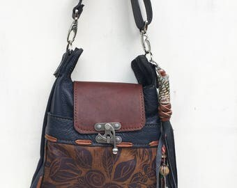 Navy Blue, leather, medium cross body purse, rose print, tassel,Madrid Crossbody