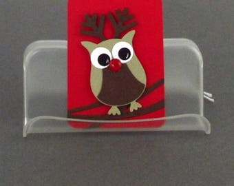 Christmas Gift Tag Handmade Owl Rudolph Tags Reindeer Ornaments Your Choice of One Three or Eight Tags Scrapbookking cardmaking