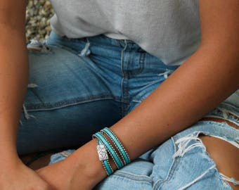 Turquoise Leather Wrap Bracelet Turquoise Bracelet Blue Bracelet Leather Bracelet Leather Jewelry Turquoise Jewelry For Her Leather Gift