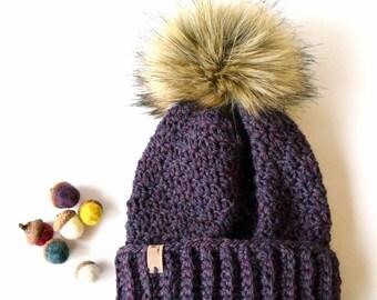 ASPEN Beanie In Purple with Faux Fur Pom Pom, Wool, Purple, MMIM, Handmade, Crochet, Winter Hat, Kids, Women
