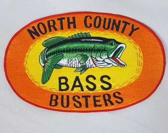 "North County Bass Busters Patch- HUGE Patch 7x11""- Bass Fishing Club in California- 1980s Vintage Patch Applique Travel Souvenir- Fish Patch"