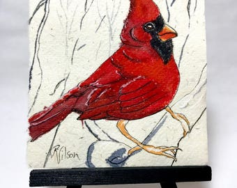 Cardinal Gifts Unique Art Gifts Original Cardinal Art Eco Friendly Gifts Housewarming gift for Her Bereavement Gifts