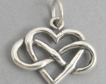 INFINITY HEART Sterling Silver Infinite Love Symbol Charm Pendant 4589